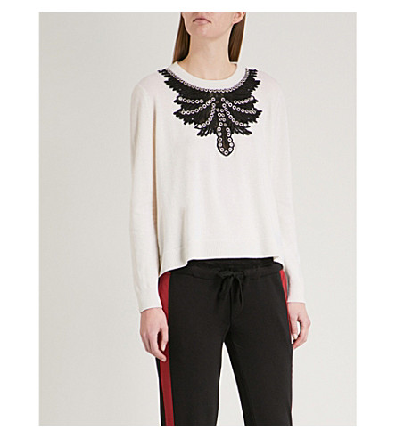 THE KOOPLES Lace yoke wool and cashmere-blend jumper (Ecr01