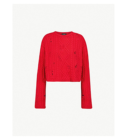 THE KOOPLES Distressed-detail knitted jumper (Red01