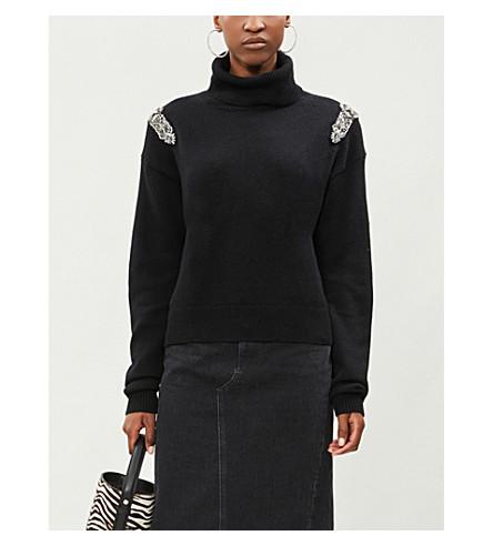 THE KOOPLES 缀饰肩羊毛和羊绒混纺毛衣 (Bla01