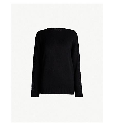 THE KOOPLES 蕾丝边饰羊毛和羊绒混纺毛衣 (Bla01