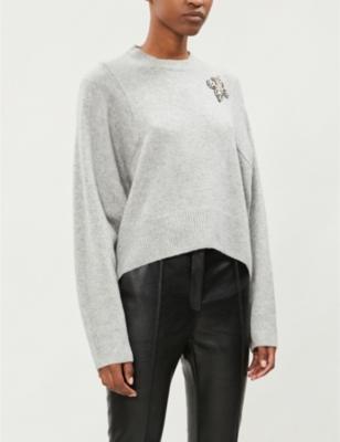 Fleur-De-Lis Appliqué Cropped Cashmere Jumper in Gry23