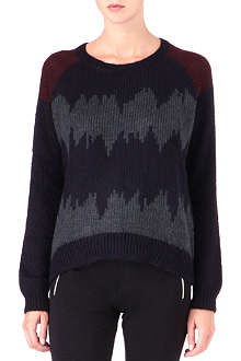 THE KOOPLES SPORT Striped mixed-knit jumper
