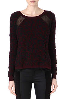 THE KOOPLES SPORT Sheer-insert leopard-print jumper