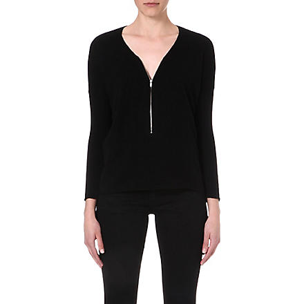 THE KOOPLES SPORT Wool and cashmere sweater with zip neck (Black