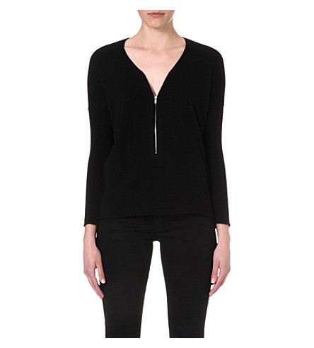 THE KOOPLES Wool and cashmere sweater with zip neck (Black