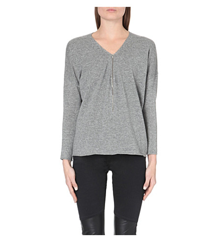 THE KOOPLES Zipper-up wool and cashmere-blend sweater (Grey