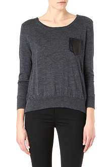 THE KOOPLES Leather-pocket merino jumper