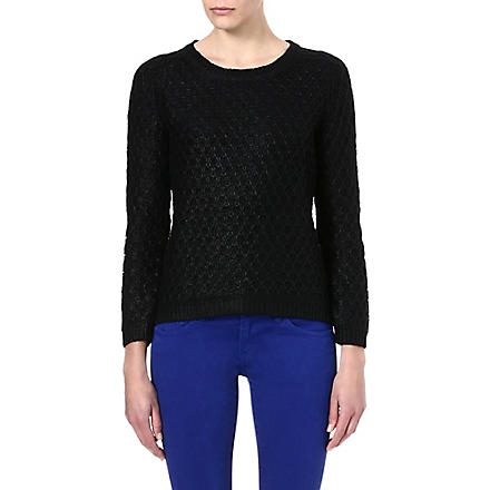 THE KOOPLES SPORT Gloss-finish textured jumper (Black