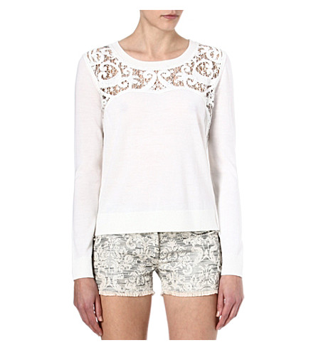THE KOOPLES Baroque-embroidered merino jumper (White