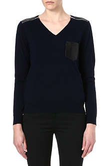 THE KOOPLES Leather-detailed merino jumper