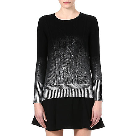 THE KOOPLES Metallic ombré cable-knit jumper (Black / silver