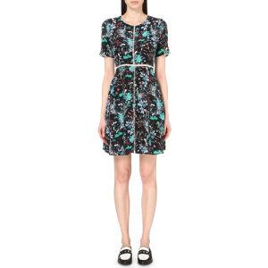 Botanic-print silk dress