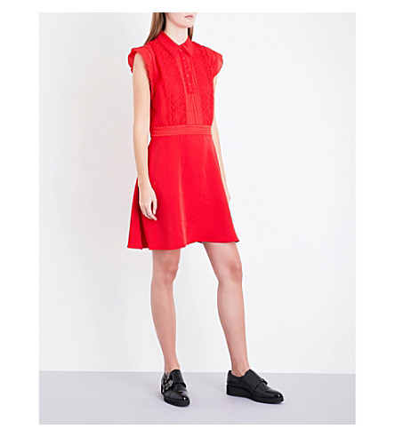 THE KOOPLES Lace and crepe dress (Red01