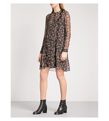 THE KOOPLES Virgin Flower silk dress (Bla01