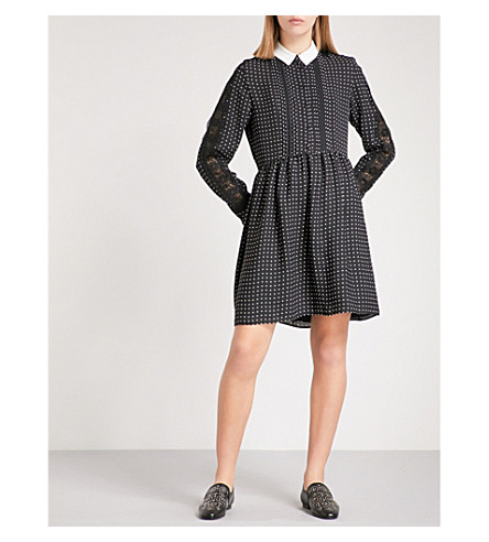 THE KOOPLES Polka dot pleated crepe shirt dress (Bla28