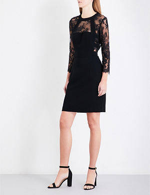 The kooples lace neck crepe dress