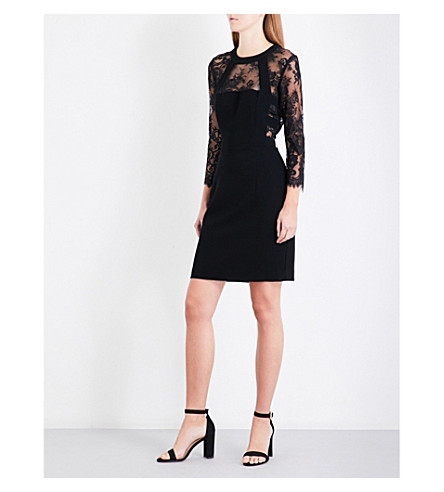 THE KOOPLES Floral-lace crepe dress (Bla01