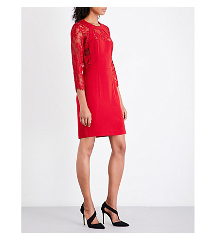 THE KOOPLES Floral-lace crepe dress (Red01