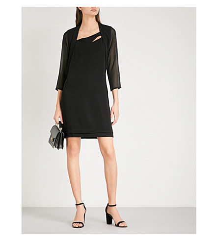 THE KOOPLES Chiffon-sleeve crepe mini dress (Bla01