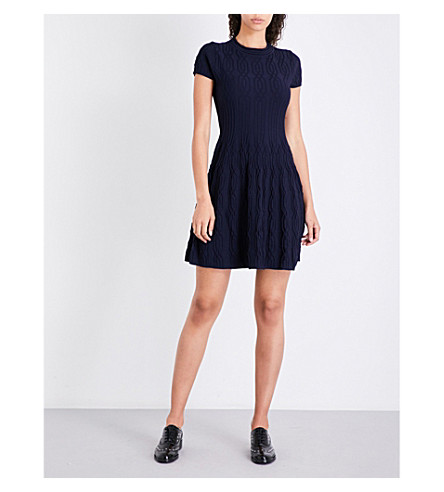 THE KOOPLES Jacquard-knit mini dress (Nav01
