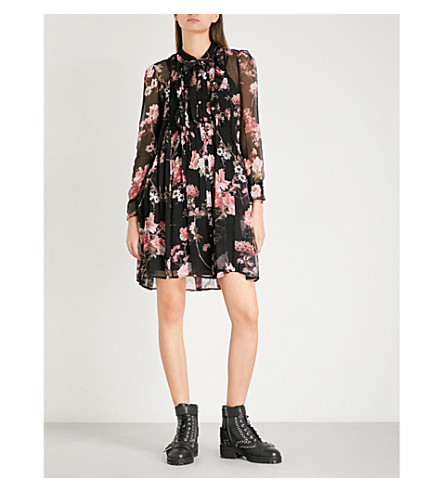 THE KOOPLES Floral-print pleated silk-georgette mini dress (Bla01