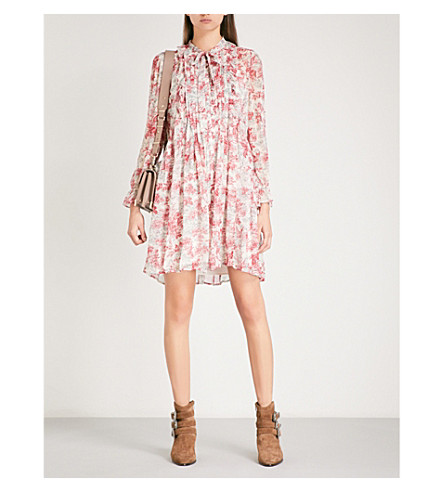 THE KOOPLES Lily of the Valley-print pleated silk-georgette mini dress (Ecr23