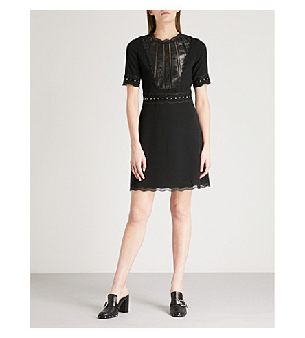 crepe Bla01 Faux lace trim THE and KOOPLES leather mini dress 4T1wqBqY
