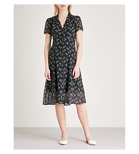 THE KOOPLES Bloom-print fit-and-flare chiffon dress (Nav01