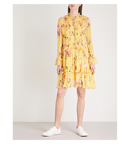 THE KOOPLES Floral-print silk-chiffon dress (Yel01
