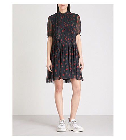 THE KOOPLES Floral-print silk dress (Nav01