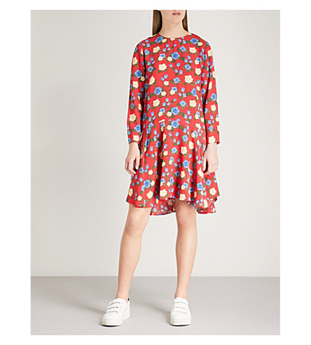 THE KOOPLES Floral-print crepe dress (Red01