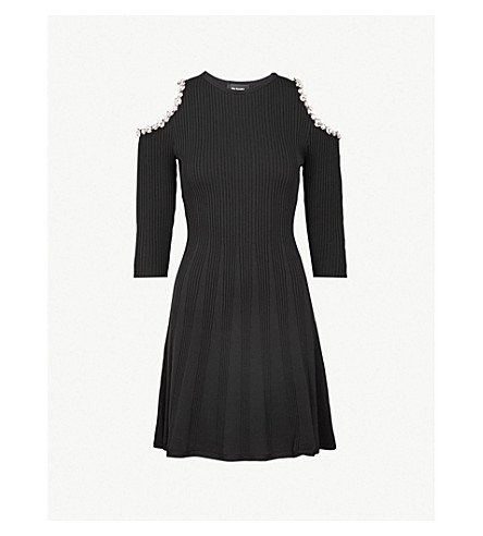 THE KOOPLES Diamanté-embellished cold-shoulder knitted dress (Bla01