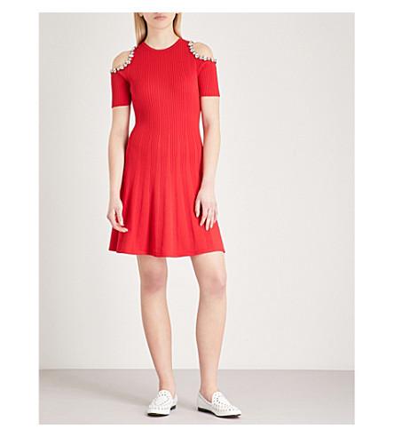 THE KOOPLES Diamanté-embellished cold-shoulder knitted dress (Red01