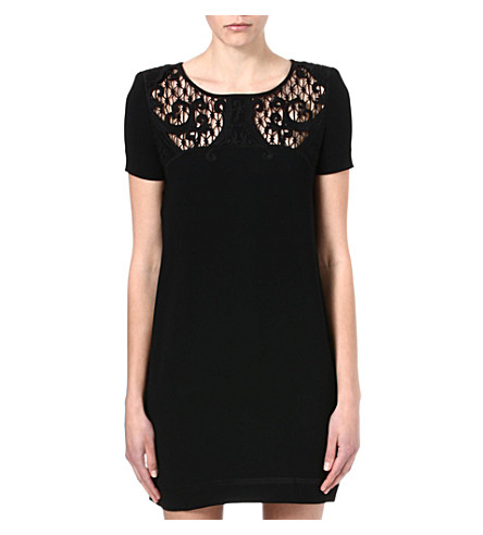 THE KOOPLES Baroque-embroidered crepe dress (Black