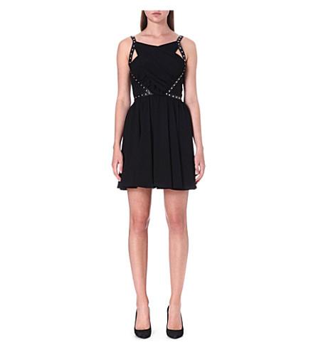 THE KOOPLES Leather studded panel dress (Black