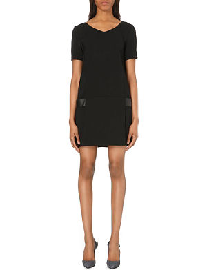 THE KOOPLES Leather panel v-neck crepe dress