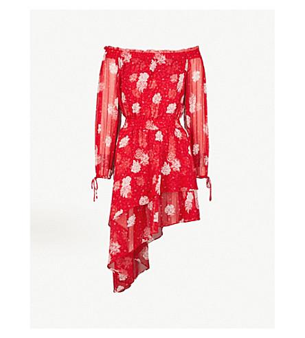 THE KOOPLES Floral-print off-the-shoulder silk dress (Red01