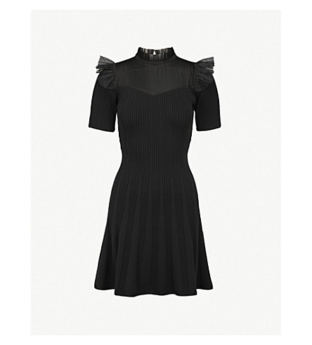 THE KOOPLES Mesh-panel knitted dress (Bla01