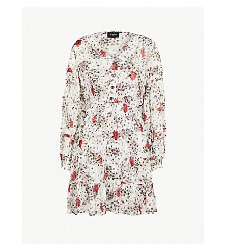 THE KOOPLES Flower-print silk dress (Ecr01