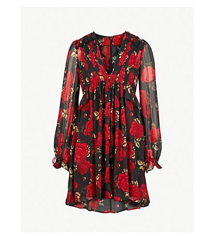 THE KOOPLES Rose-print silk dress (Bla26
