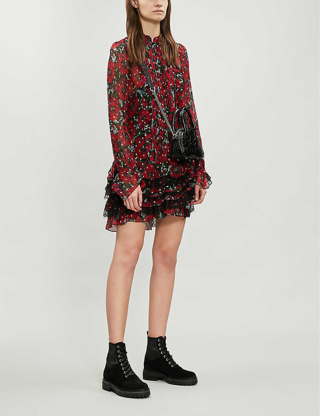 Lace ruffle trim floral silk-blend dress(7575652)
