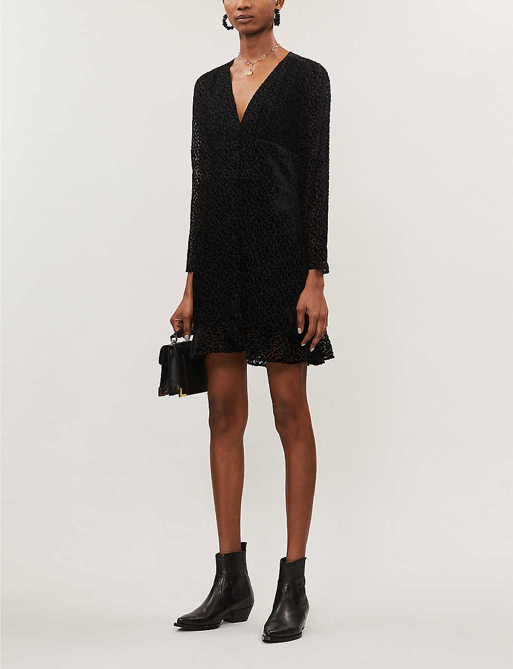 Leopard-print devoré mini dress(8142201)