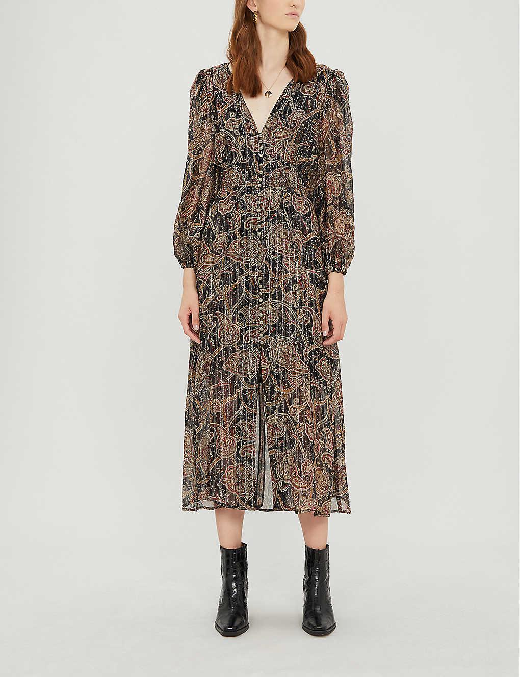 Button-front paisley crepe dress(8082707)