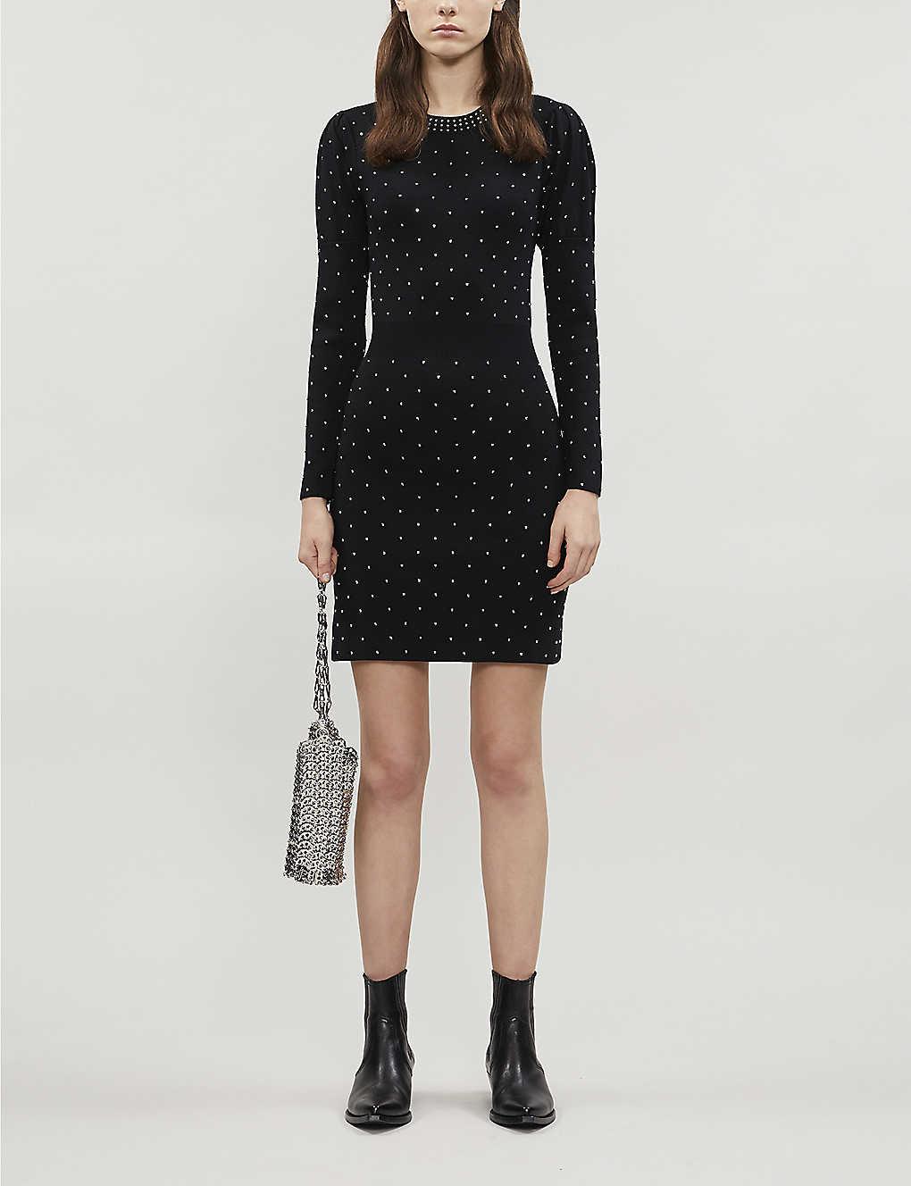 Rhinestone-embellished stretch-knitted midi dress(8102011)