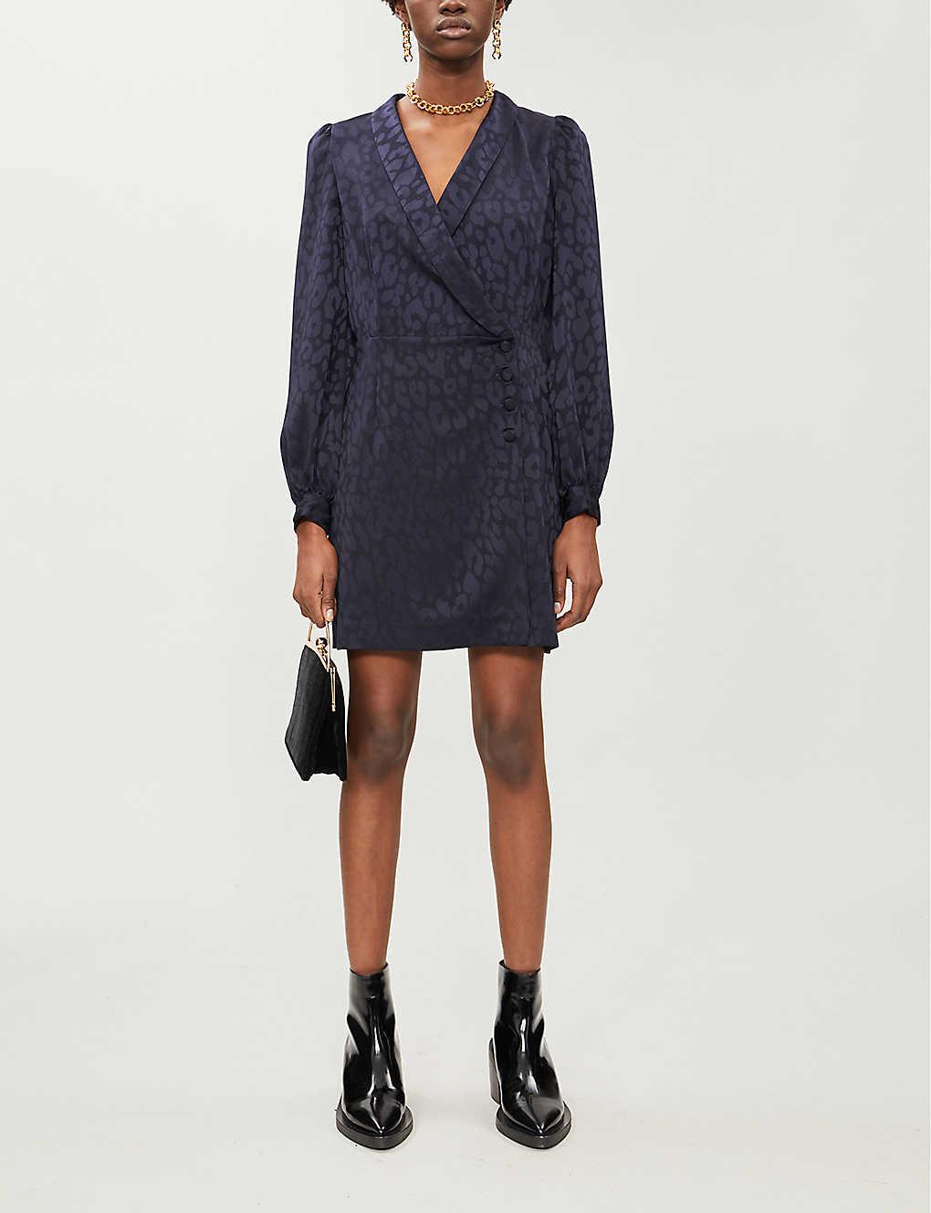 Leopard-jacquard satin mini dress(8083165)