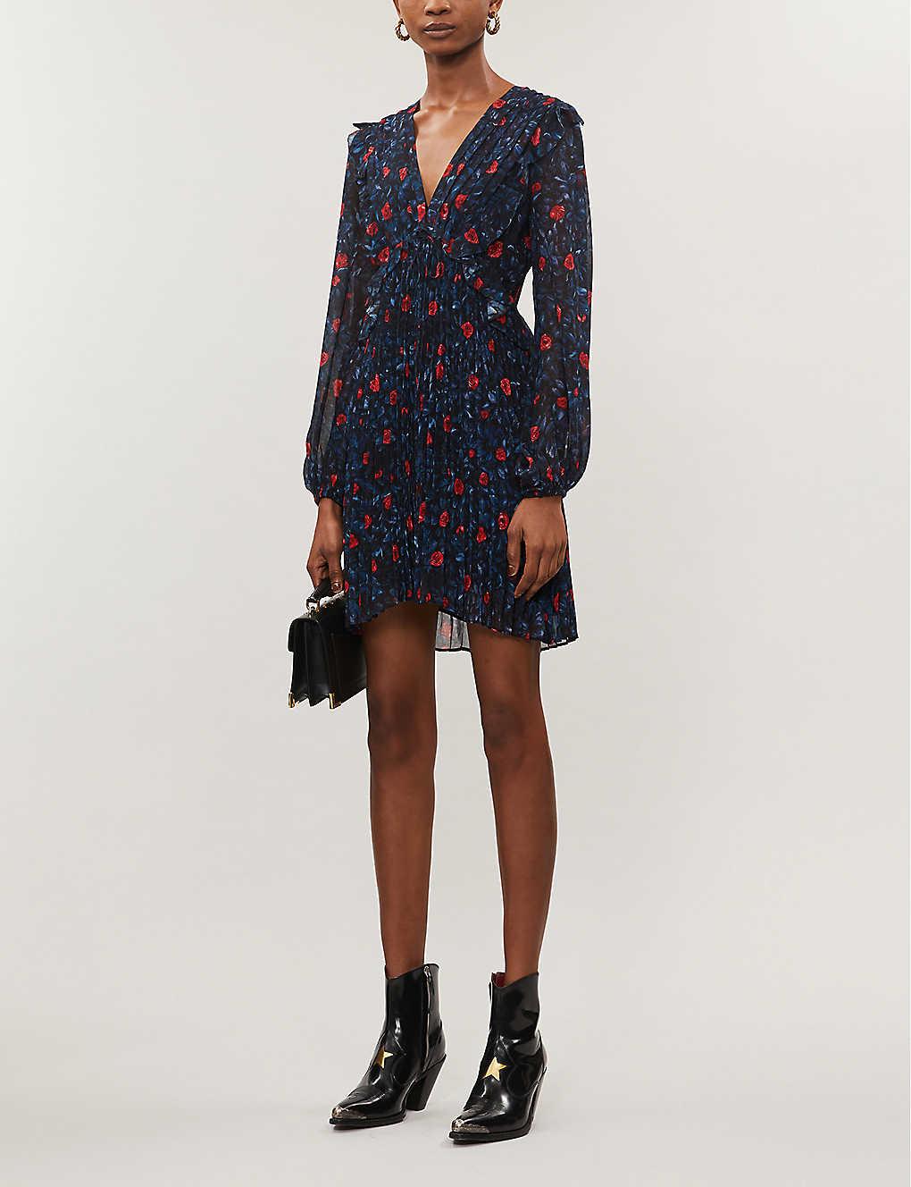 Rose-print chiffon mini dress(8083848)