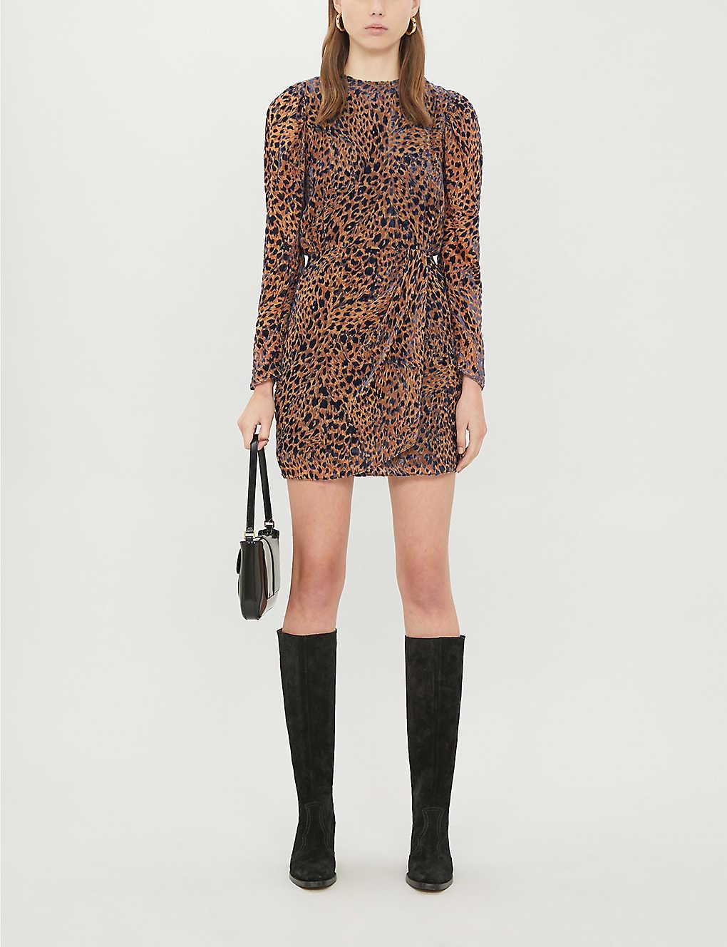 Leopard velour-jacquard dress(8083646)