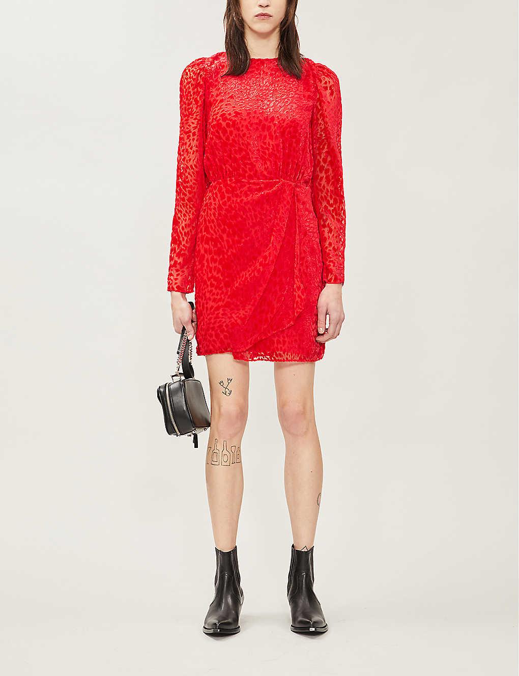 Wrap-style velvet-jacquard mini dress(8083652)