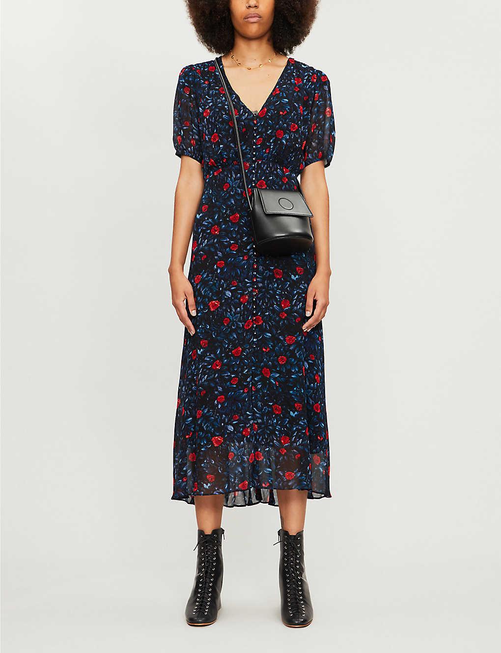 Floral-print puffed-sleeve crepe midi dress(8083854)