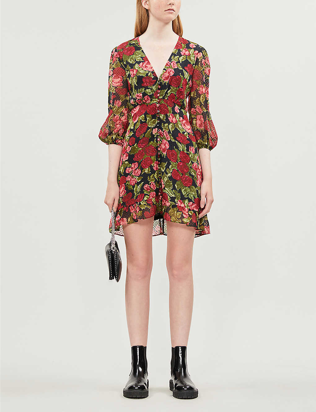 Floral-print silk coupe mini dress(8083830)